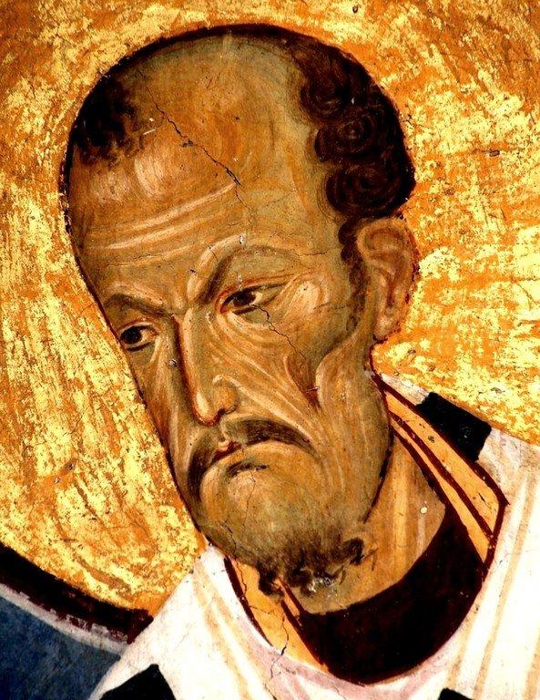 Святитель Иоанн Златоуст. Фреска церкви Богородицы в монастыре Студеница, Сербия. 1208 - 1209 годы.
