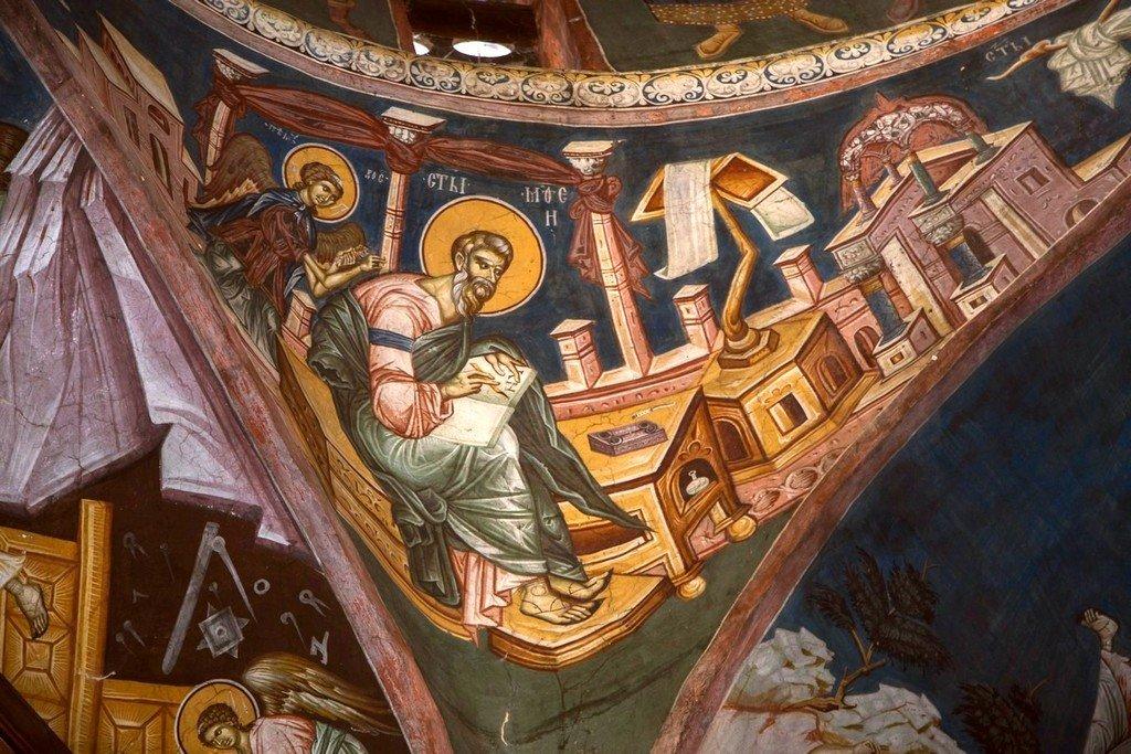 Святой Апостол и Евангелист Матфей. Фреска церкви Богоматери Одигитрии в монастыре Печская Патриархия, Косово, Сербия. 1330-е годы.
