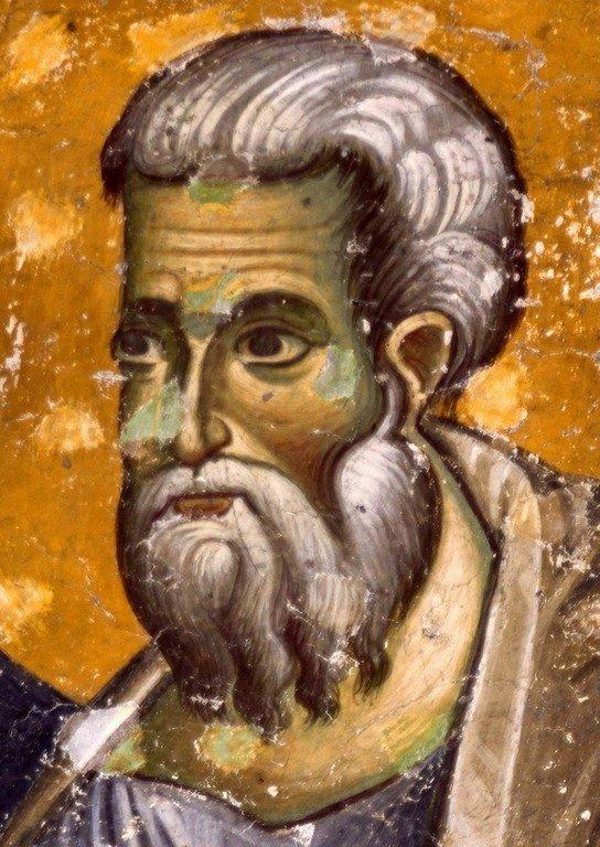 Святой Апостол и Евангелист Матфей. Фреска церкви Святых Апостолов в монастыре Печская Патриархия, Косово, Сербия. 1260 - 1263 годы.