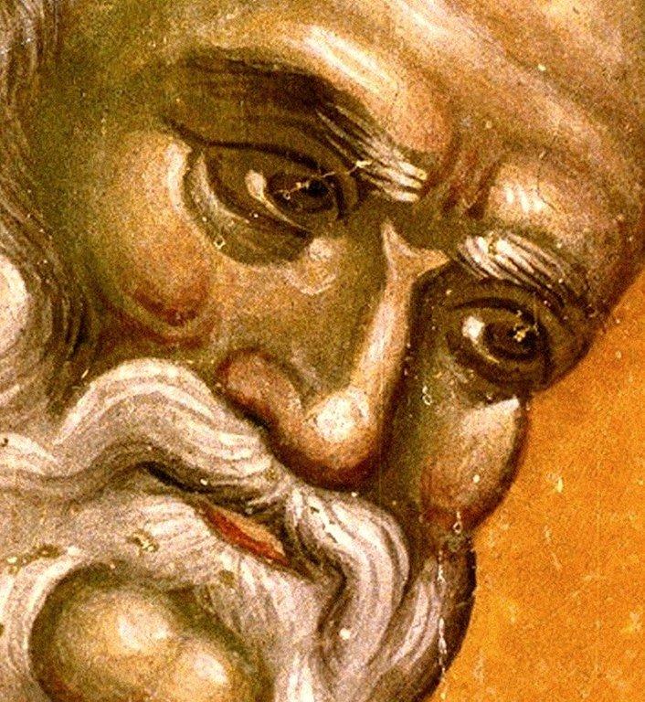Святитель Григорий Чудотворец, Епископ Неокесарийский. Фреска церкви Святых Иоакима и Анны (Королевской церкви) в монастыре Студеница, Сербия. 1314 год.