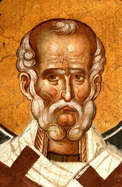 Святитель Григорий Чудотворец, Епископ Неокесарийский. Фреска монастыря Высокие Дечаны, Косово, Сербия. Около 1350 года.