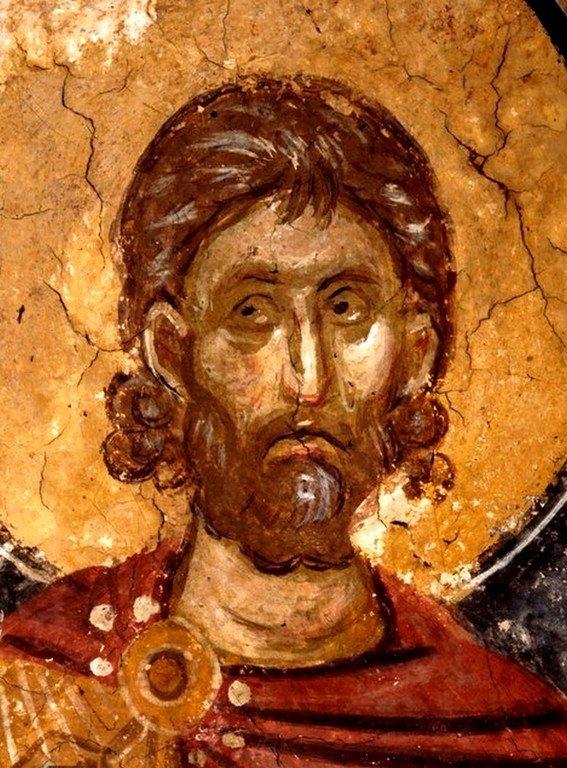Святой Мученик Платон Анкирский. Фреска монастыря Высокие Дечаны, Косово, Сербия. Около 1350 года.