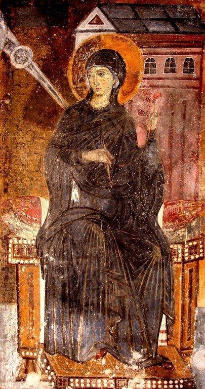 Пресвятая Богородица. Фреска церкви Вознесения Господня в монастыре Милешева (Милешево), Сербия. XIII век.