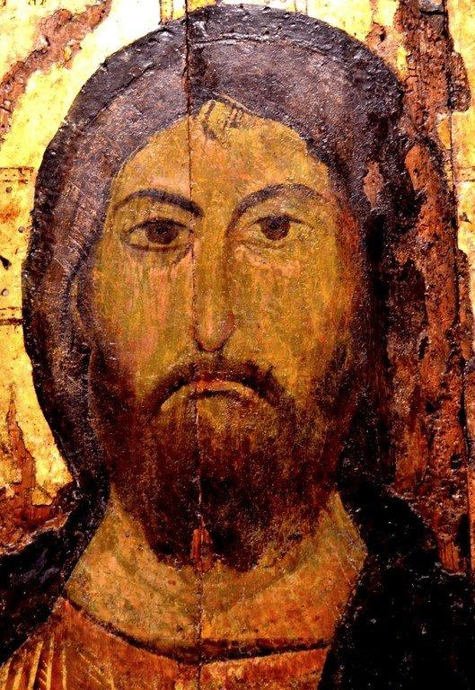 Христос Пантократор (Вседержитель). Болгарская икона XIV века. Лик Спасителя.