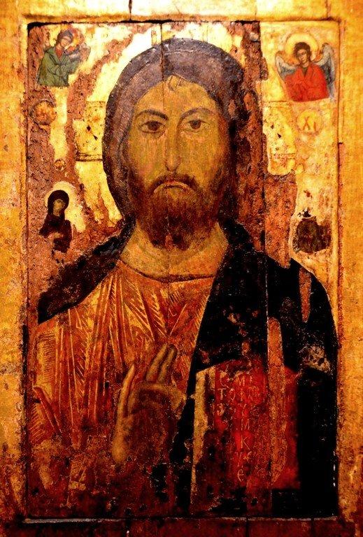 Христос Пантократор (Вседержитель). Болгарская икона XIV века.