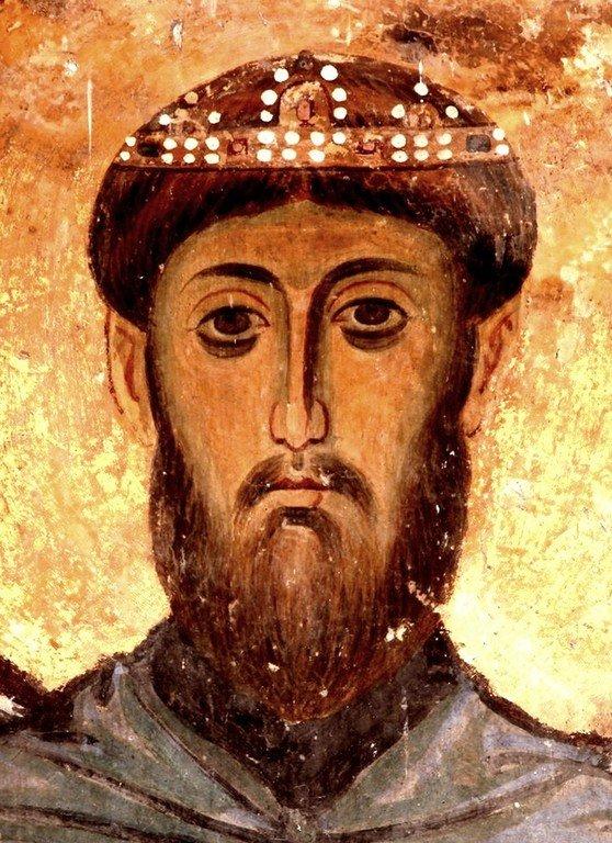 Святой Преподобный Иоасаф, Царевич Индийский. Фреска церкви Богородицы в монастыре Студеница, Сербия. 1208 - 1209 годы.