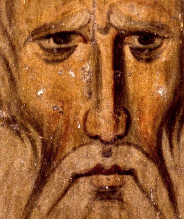 Святой Преподобный Варлаам Отшельник. Фреска церкви Богородицы в монастыре Студеница, Сербия. 1208 - 1209 годы.