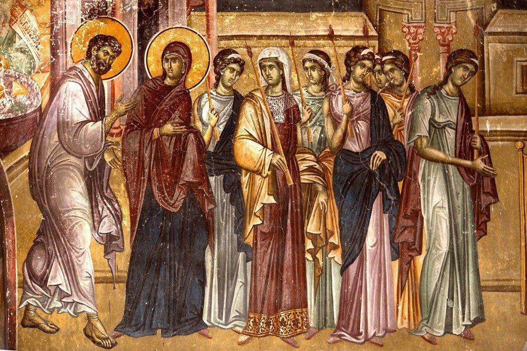 Введение во храм Пресвятой Богородицы. Фреска церкви Святых Иоакима и Анны (Королевской церкви) в монастыре Студеница, Сербия. 1314 год. Фрагмент.