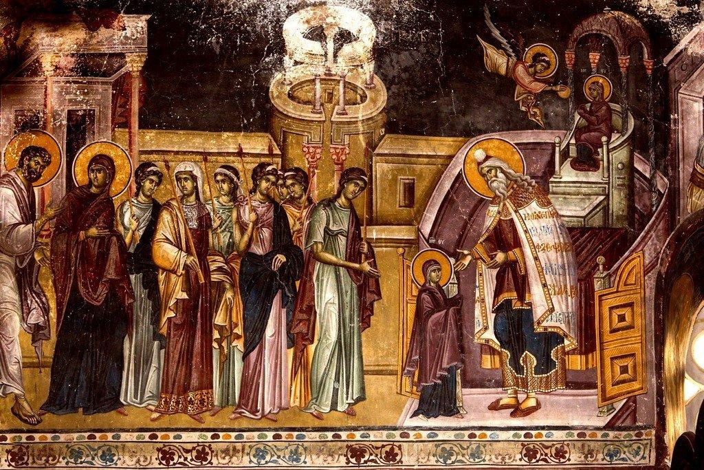 Введение во храм Пресвятой Богородицы. Фреска церкви Святых Иоакима и Анны (Королевской церкви) в монастыре Студеница, Сербия. 1314 год.