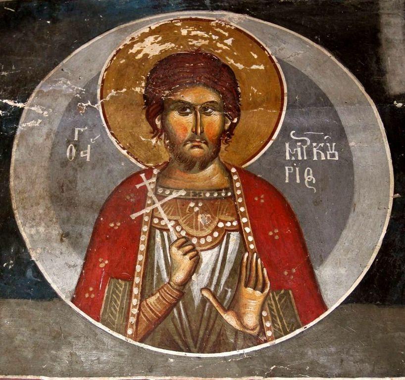 Святой Великомученик Меркурий Кесарийский. Фреска церкви Пресвятой Богородицы на острове Мали Град в албанской части озера Преспа. 1368 год.