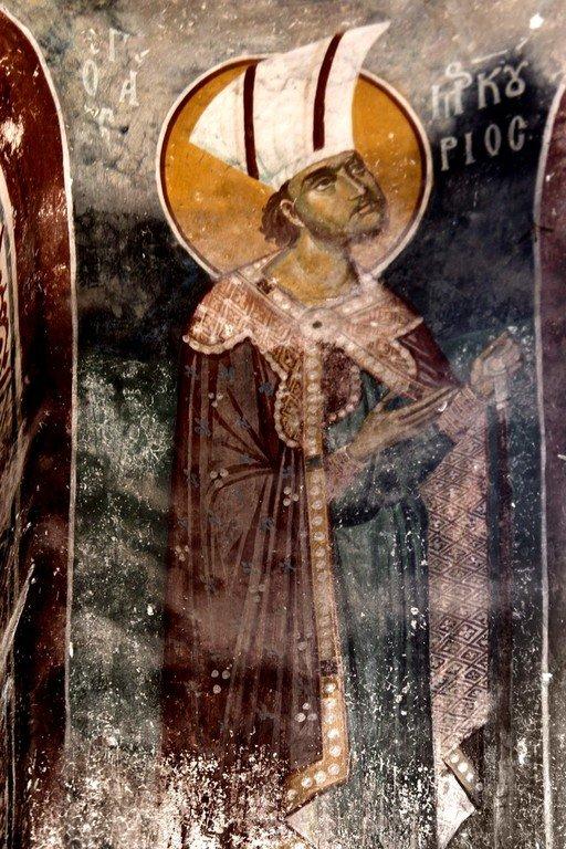 Святой Великомученик Меркурий Кесарийский. Фреска монастыря Трескавац (Трескавец), Македония. XIV век.