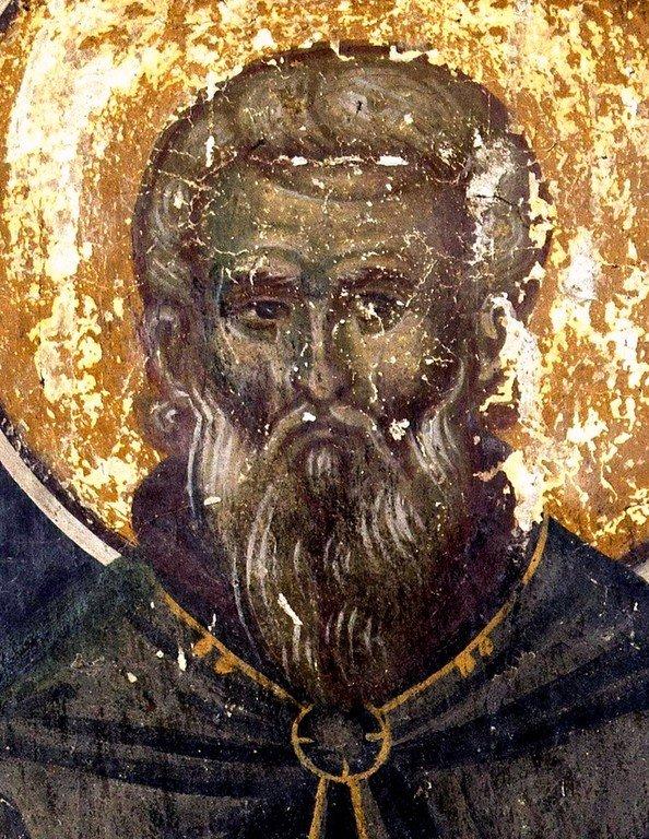 Святой Преподобный Алипий Столпник. Фреска церкви Богородицы в монастыре Студеница, Сербия. 1568 год.