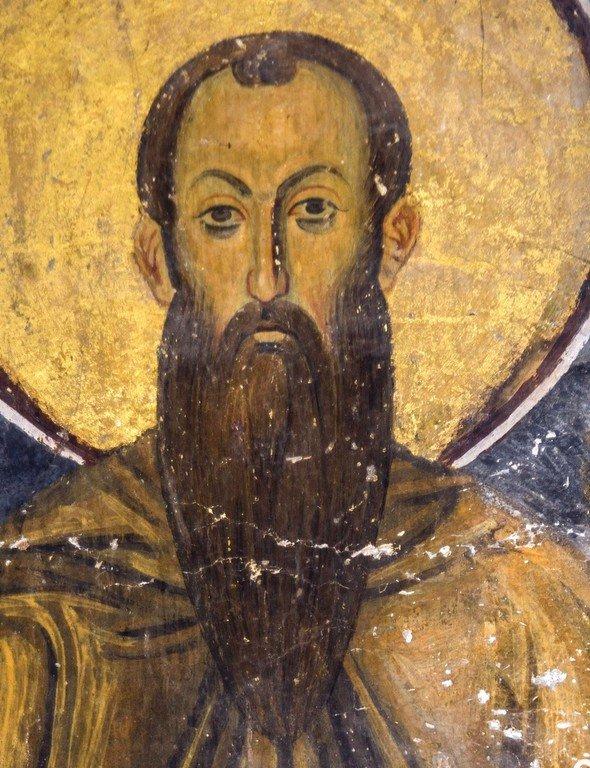 Святой Преподобномученик и Исповедник Стефан Новый. Фреска церкви Богородицы в монастыре Студеница, Сербия. 1208 - 1209 годы.