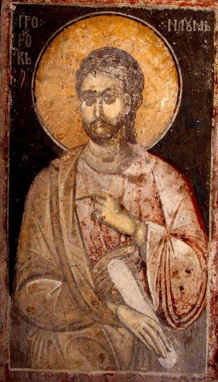 Святой Пророк Наум. Фреска Белой церкви в селе Каран, Сербия. 1340 - 1342 годы.