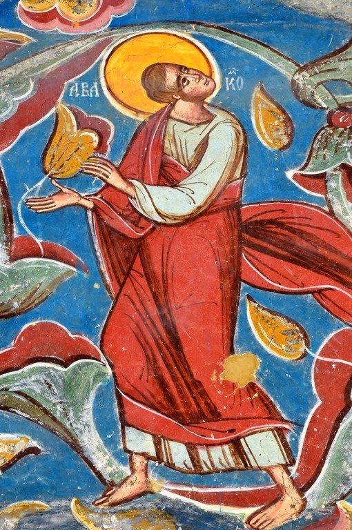 Святой Пророк Аввакум. Фреска монастыря Молдовица, Румыния. 1532 год.