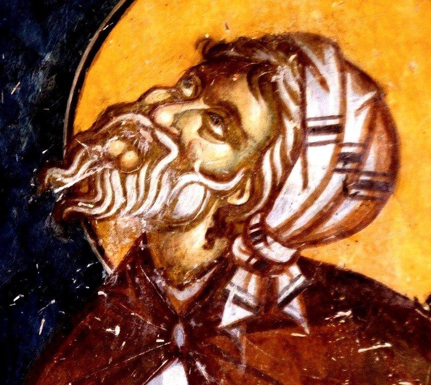 Святой Преподобный Иоанн Дамаскин. Фреска Лесновского монастыря (Македония). XIV век.
