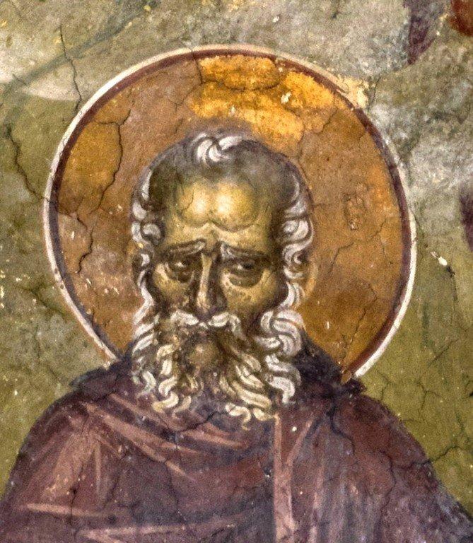 Святой Преподобный Савва Освященный. Фреска монастыря Высокие Дечаны, Косово, Сербия. Около 1350 года.