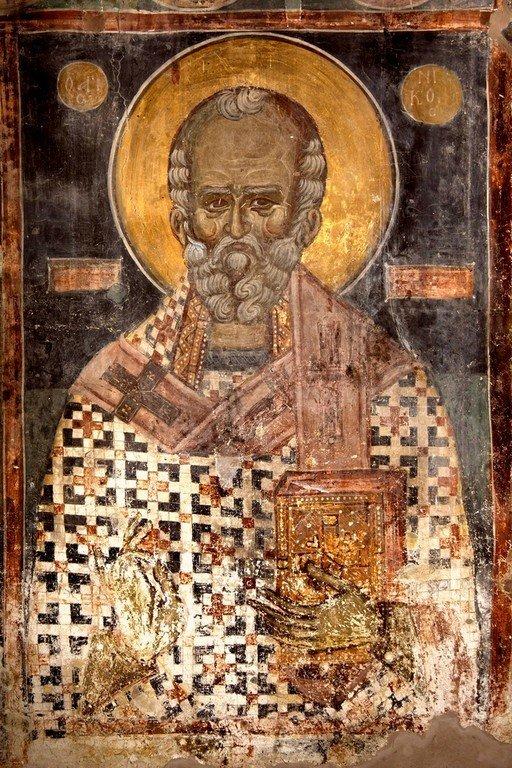 Святитель Николай Чудотворец. Фреска церкви Святого Николая Больничного в Охриде, Македония. 1330 - 1340 годы.