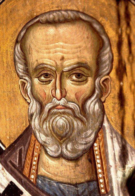 Святитель Николай Чудотворец. Фреска Лесновского монастыря (Македония). XIV век.