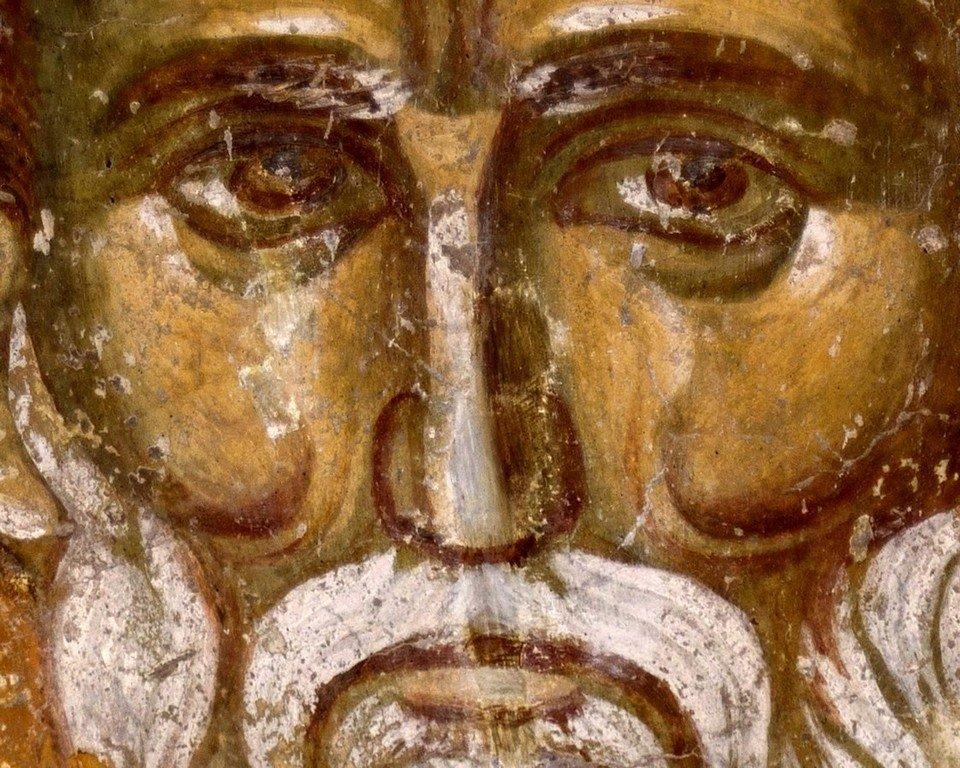 """Святитель Николай Чудотворец. Фреска церкви Вознесения Господня (""""Спасов дом"""") в монастыре Жича, Сербия. 1309 - 1316 годы."""