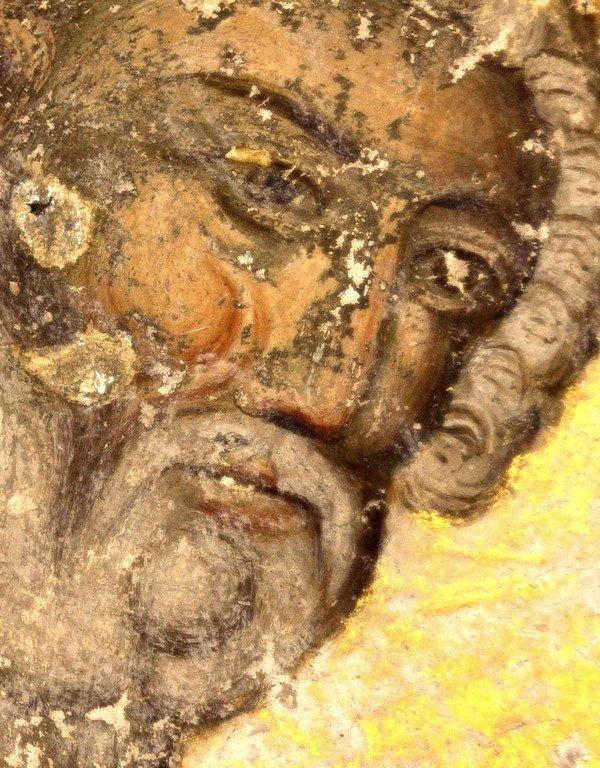 Души праведных в Руце Божией. Святые Пророки Цари Давид и Соломон. Фреска церкви Святой Троицы в монастыре Манасия (Ресава), Сербия. До 1418 года. Фрагмент. Пророк Царь Давид.