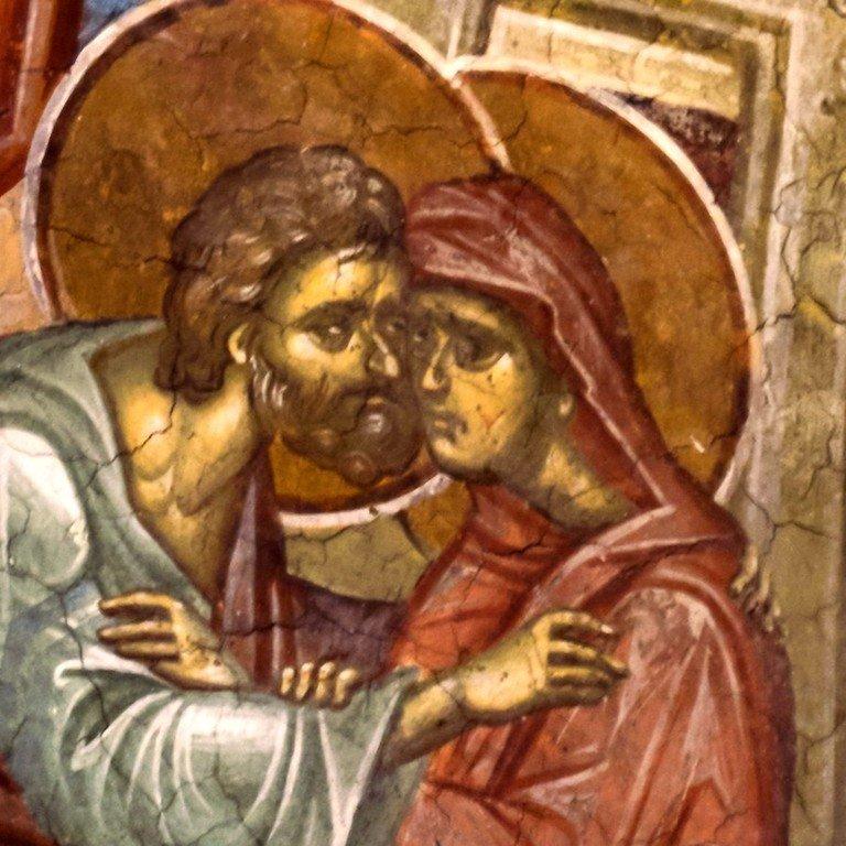 Зачатие Праведною Анною Пресвятой Богородицы. Фреска монастыря Высокие Дечаны, Косово, Сербия. Около 1350 года.