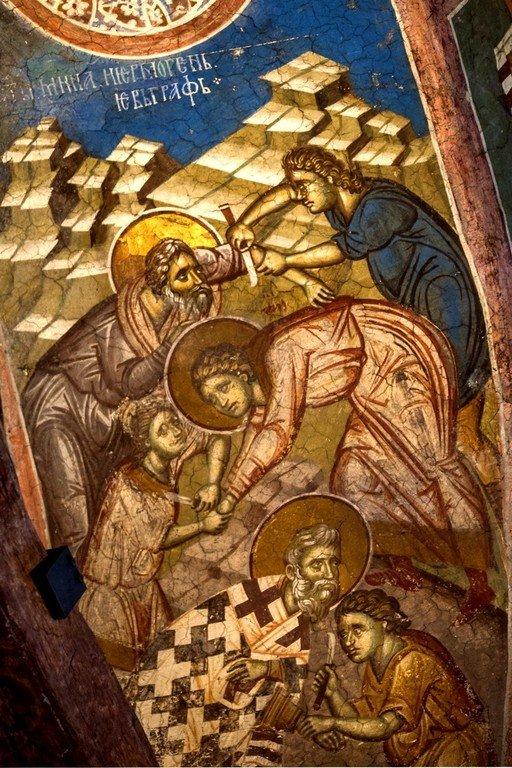Мученичество Святых Мины, Ермогена и Евграфа. Фреска монастыря Высокие Дечаны, Косово, Сербия. Около 1350 года.