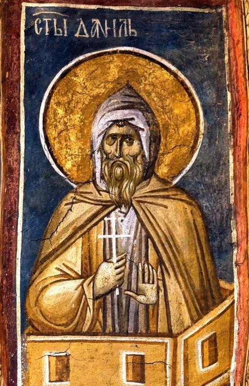 Святой Преподобный Даниил Столпник. Фреска монастыря Высокие Дечаны, Косово, Сербия. Около 1350 года.
