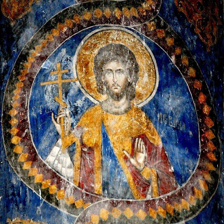 Святой Мученик Левкий. Фреска церкви Святой Троицы в монастыре Манасия (Ресава), Сербия. До 1418 года.