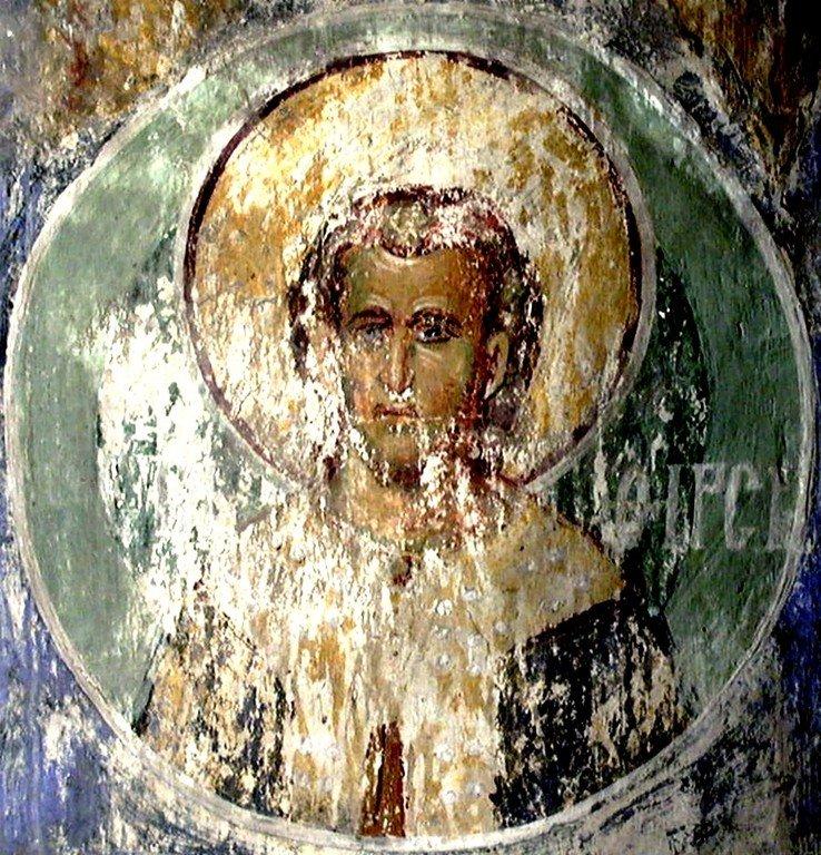 Святой Мученик Фирс. Фреска церкви Вознесения Господня в монастыре Раваница, Сербия. До 1389 года.