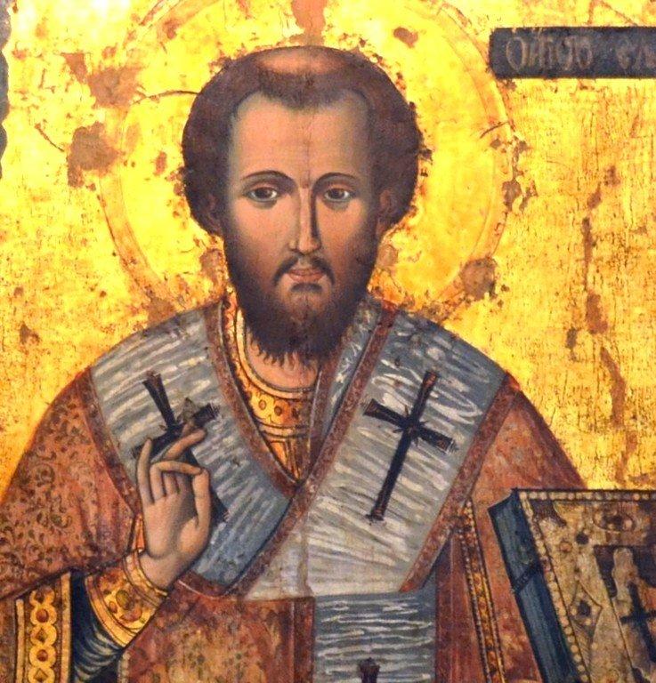Священномученик Елевферий, Епископ Иллирийский. Болгарская икона. 1781 год. Фрагмент.