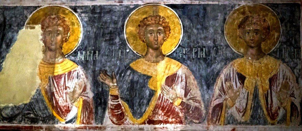 Святые отроки Анания, Азария и Мисаил. Фреска монастыря Каленич, Сербия. Около 1413 года.