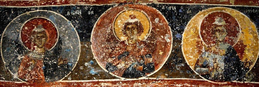 Святые отроки Анания, Азария и Мисаил. Фреска церкви Преображения Господня в монастыре Зрзе, Македония. 1368 - 1369 годы.