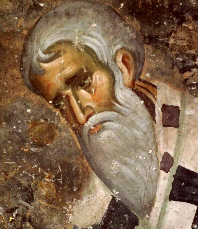 Священномученик Игнатий Богоносец. Фреска церкви Святой Троицы в монастыре Сопочаны, Сербия. 1265 год.