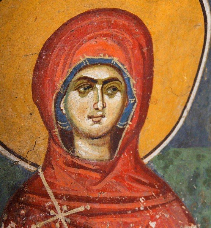 Святая Великомученица Анастасия Узорешительница. Фреска церкви Богоматери Одигитрии в монастыре Печская Патриархия, Косово, Сербия. 1330-е годы.