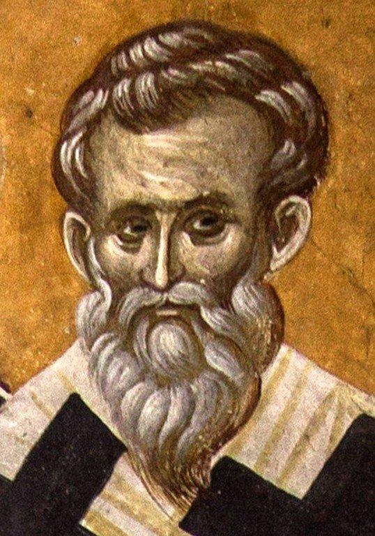 Святой Преподобный Нифонт, Епископ Кипрский. Фреска монастыря Грачаница, Косово, Сербия. Около 1320 года.