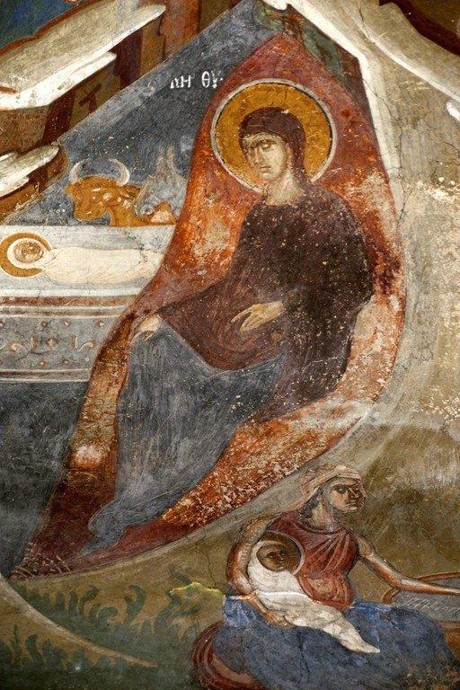 Рождество Христово. Фреска церкви Святого Димитрия в Марковом монастыре близ Скопье, Македония. Около 1376 года. Фрагмент.