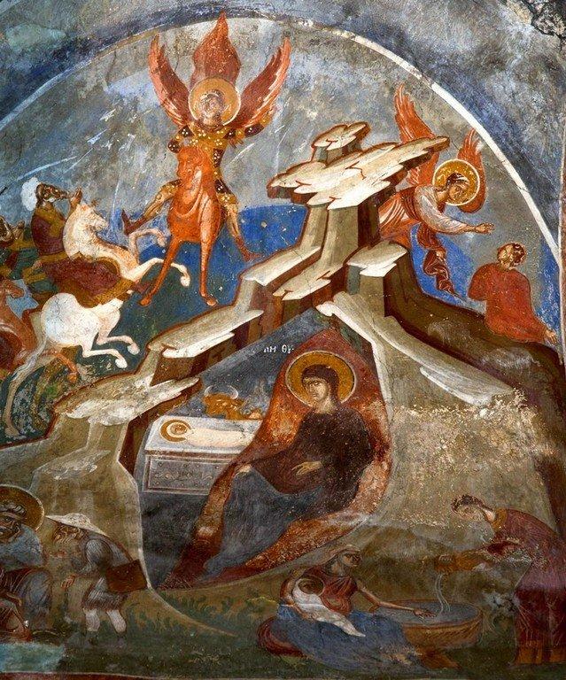 Рождество Христово. Фреска церкви Святого Димитрия в Марковом монастыре близ Скопье, Македония. Около 1376 года. Ангел на коне - изображение Вифлеемской звезды.