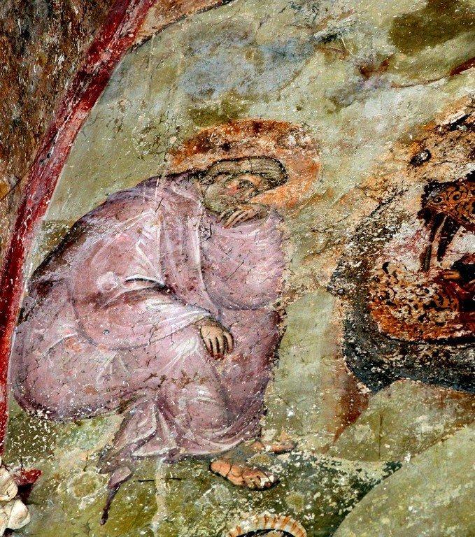 Рождество Христово. Фреска церкви Святой Троицы в монастыре Сопочаны, Сербия. 1265 год. Фрагмент.