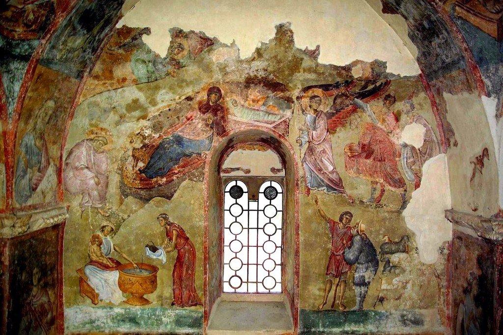 Рождество Христово. Фреска церкви Святой Троицы в монастыре Сопочаны, Сербия. 1265 год.
