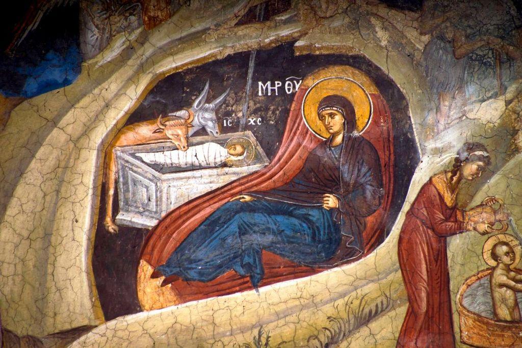 Рождество Христово. Фреска монастыря Высокие Дечаны, Косово, Сербия. Около 1350 года. Фрагмент.