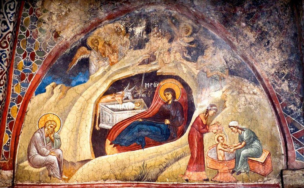 Рождество Христово. Фреска монастыря Высокие Дечаны, Косово, Сербия. Около 1350 года.