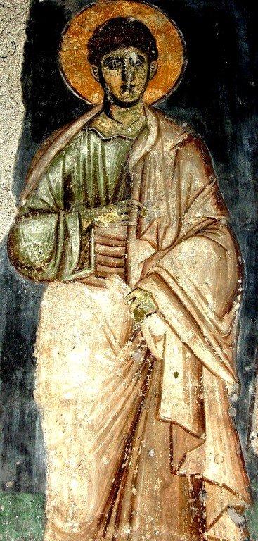Святой Апостол от Семидесяти, Первомученик и Архидиакон Стефан. Фреска церкви Святого Ахиллия в Ариле (Арилье), Сербия. 1296 год.