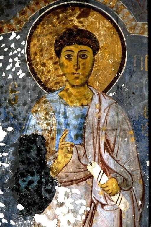Святой Апостол от Семидесяти, Первомученик и Архидиакон Стефан. Фреска церкви Богородицы в монастыре Студеница, Сербия. 1208 - 1209 годы.