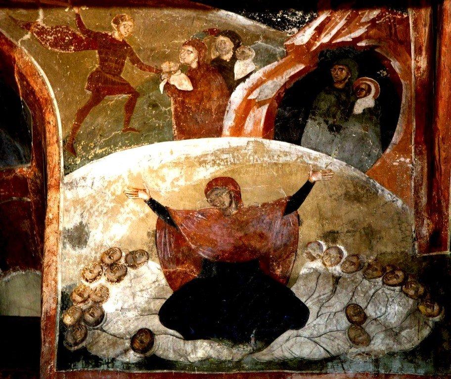 Избиение Вифлеемских младенцев. Плач Рахили. Фреска церкви Святого Димитрия в Марковом монастыре близ Скопье, Македония. Около 1376 года.