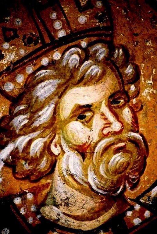 Святой Пророк Царь Давид. Фреска церкви Святых Апостолов в монастыре Печская Патриархия, Косово, Сербия. Около 1350 года.