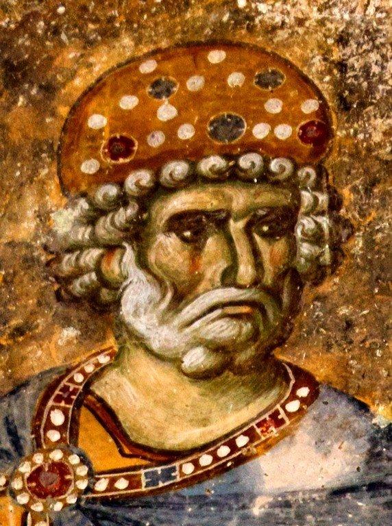 Святой Пророк Царь Давид. Фреска церкви Святой Троицы в монастыре Сопочаны, Сербия. 1265 год.