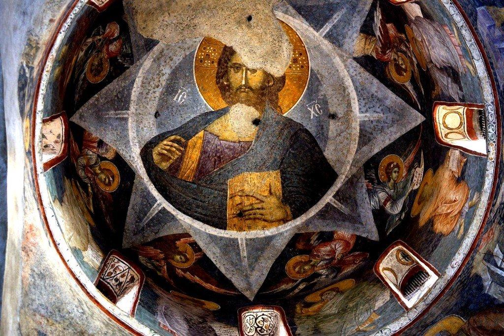 Христос Пантократор. Фреска центрального купола церкви Богородицы Левишки в Призрене, Косово, Сербия. Около 1310 - 1313 годов. Иконописцы Михаил Астрапа и Евтихий.