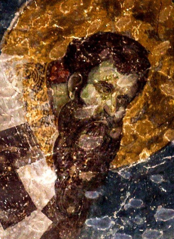 Святитель Василий Великий. Фреска церкви Богородицы Левишки в Призрене, Косово, Сербия. Около 1310 - 1313 годов. Иконописцы Михаил Астрапа и Евтихий.