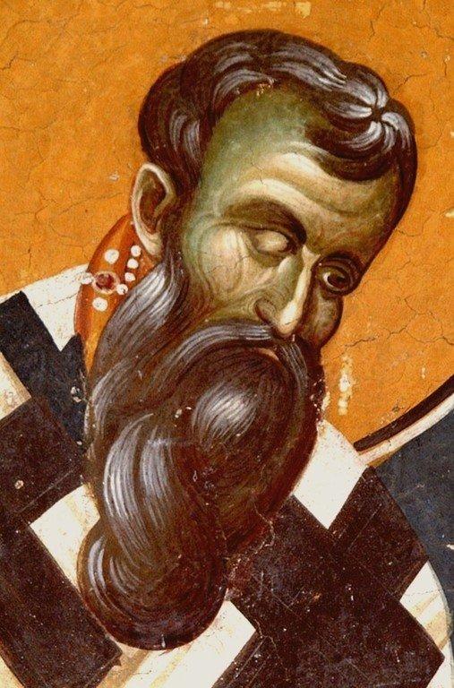 Святитель Василий Великий. Фреска церкви Святых Иоакима и Анны (Королевской церкви) в монастыре Студеница, Сербия. 1314 год.